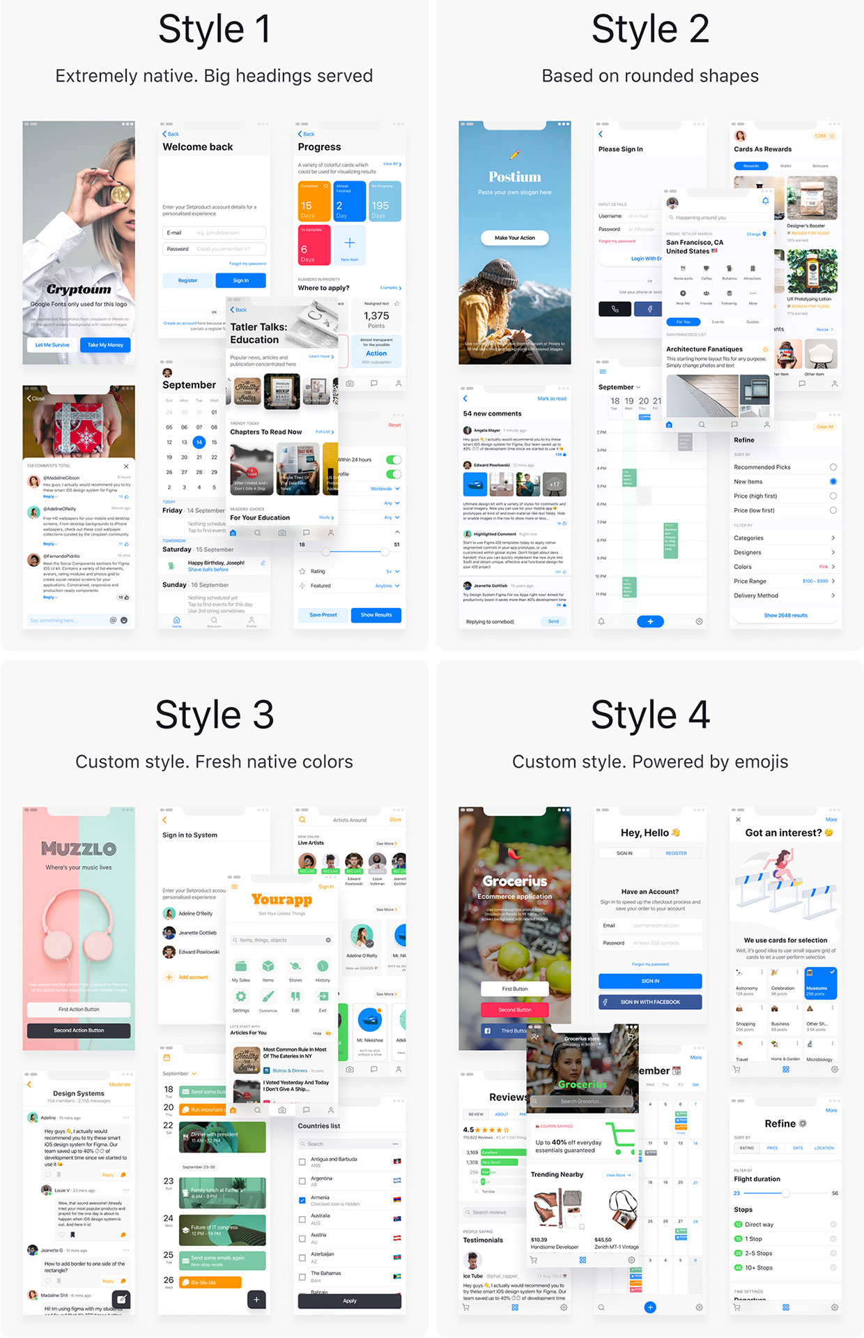 iOS 12 Figma Templates Library Styles