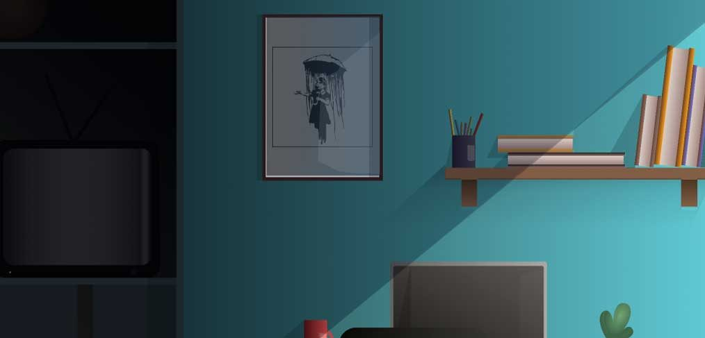 Room and desk Figma illustration