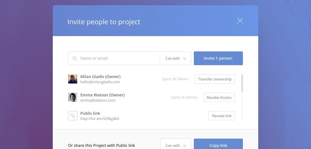 Sharing popup template for Figma