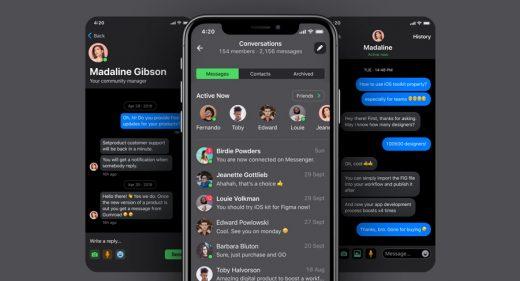 iOS Messages template - Dark UI