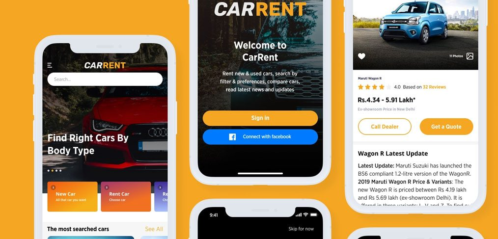 Car rental app template for Figma