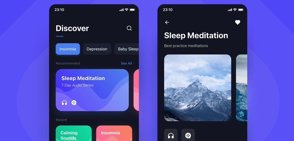 Sleep app mobile template for Figma