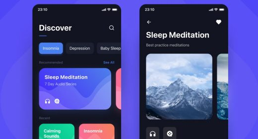 Sleep app mobile template for Figma