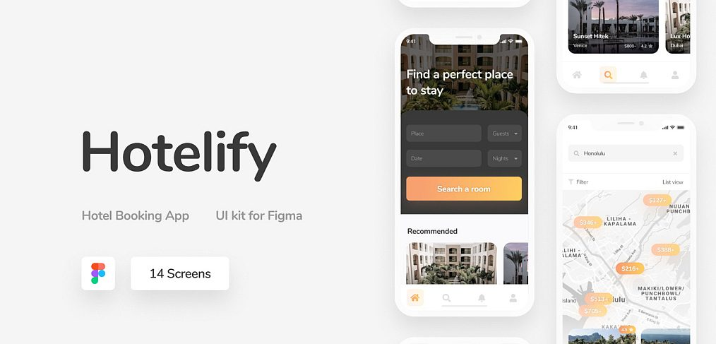Hotelify - Free iOS Figma UI kit