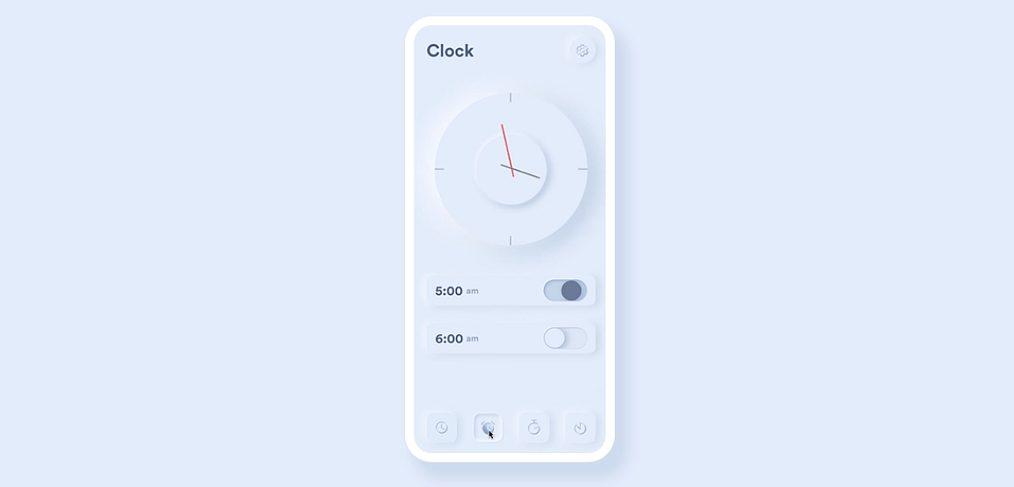 Clock app Figma prototype