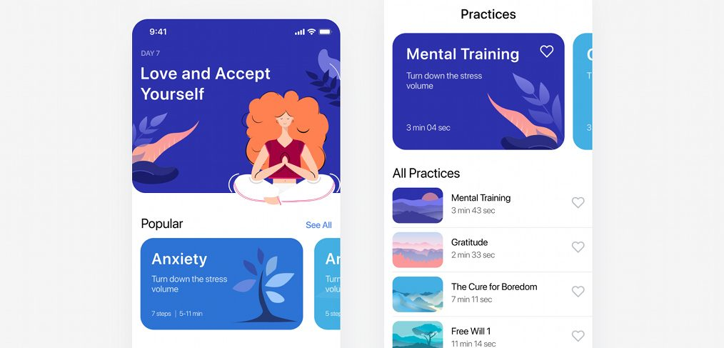 Meditation iOS app Figma template - FigmaCrush com