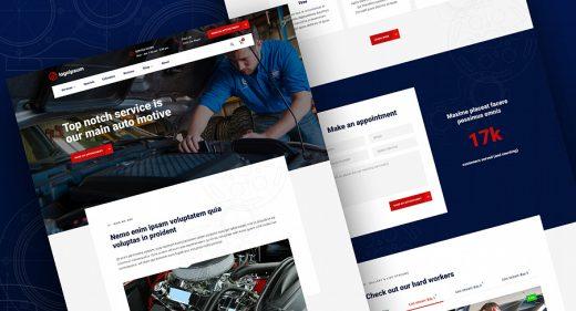 Auto repair Figma homepage template