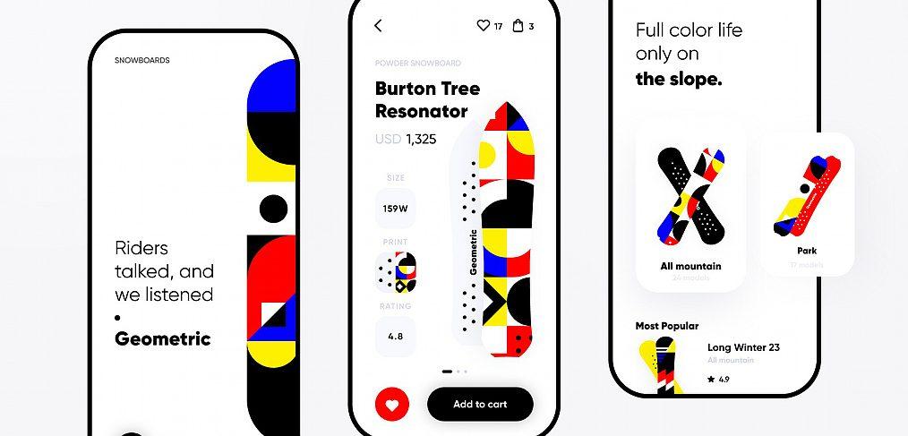 Snowboarding app Figma template