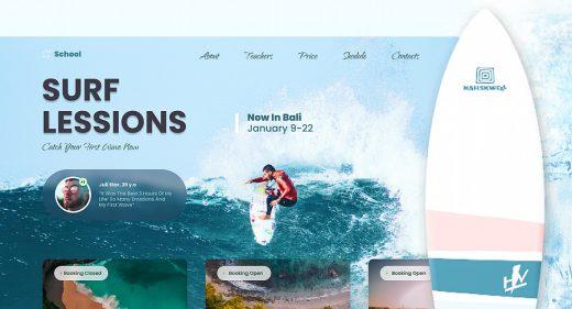 Surf school Figma website template