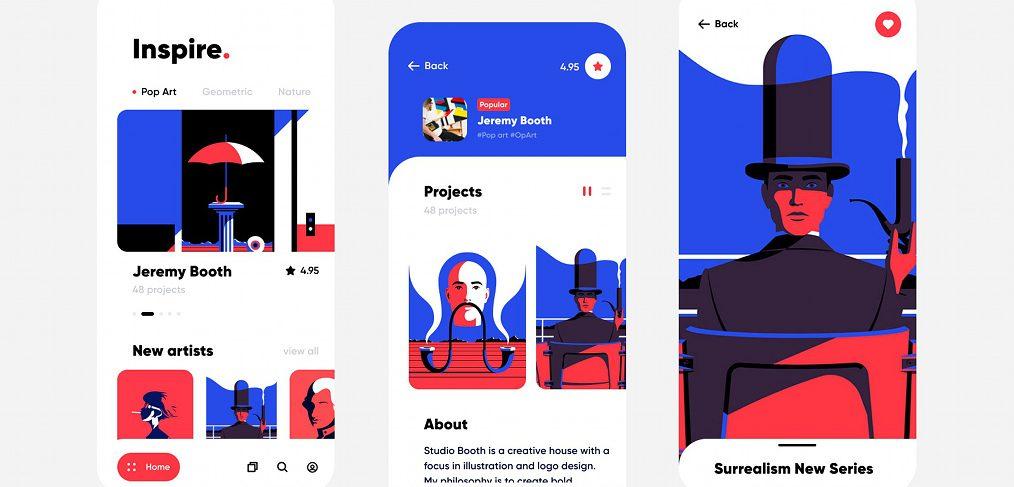 Art inspiration Figma app concept