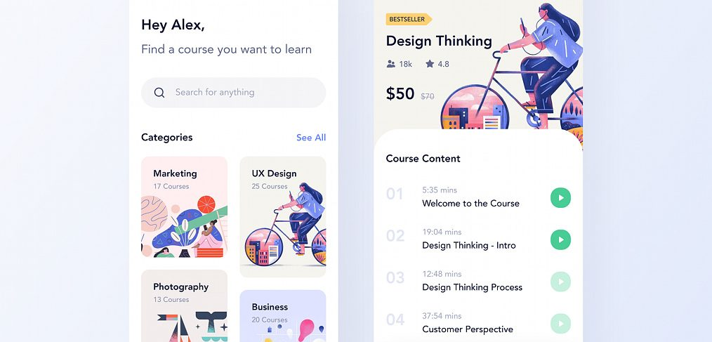 Course app Figma mobile concept