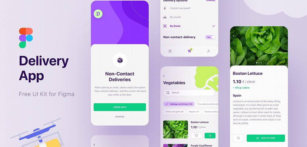 Figma delivery app UI kit