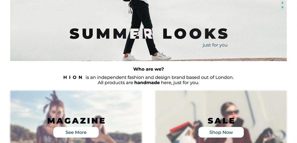 Figma fashion landing page
