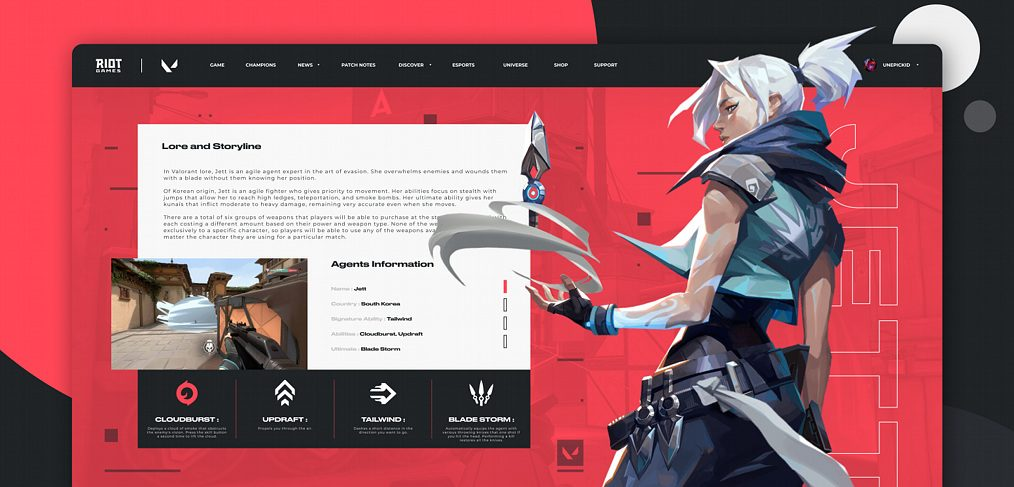 Gaming website concept for Figma
