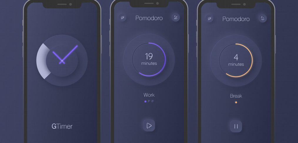 Neumorphic pomodoro timer for Figma