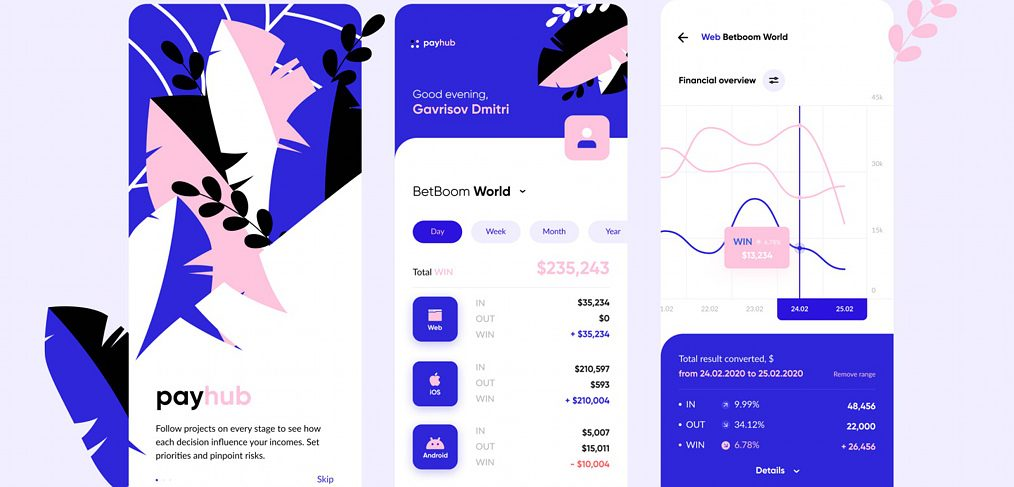 Payhub finance app Figma concept