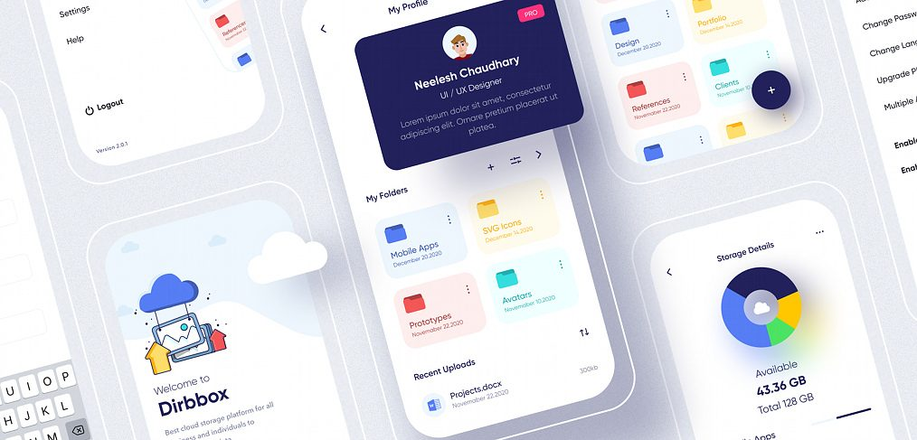 Cloud storage Figma app template