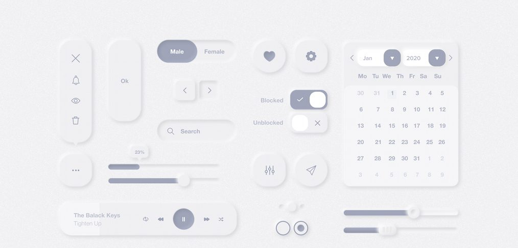 Neumorphic Figma UI Elements