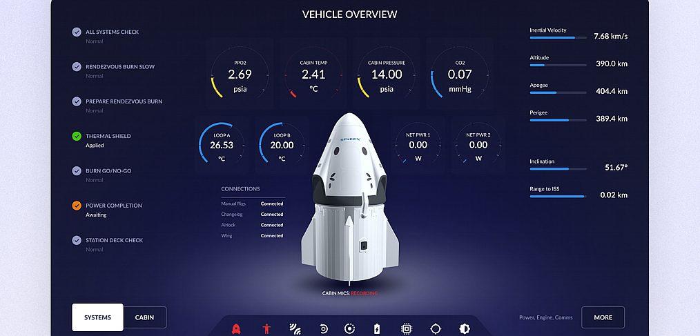 SpaceX Flight Control UI concept