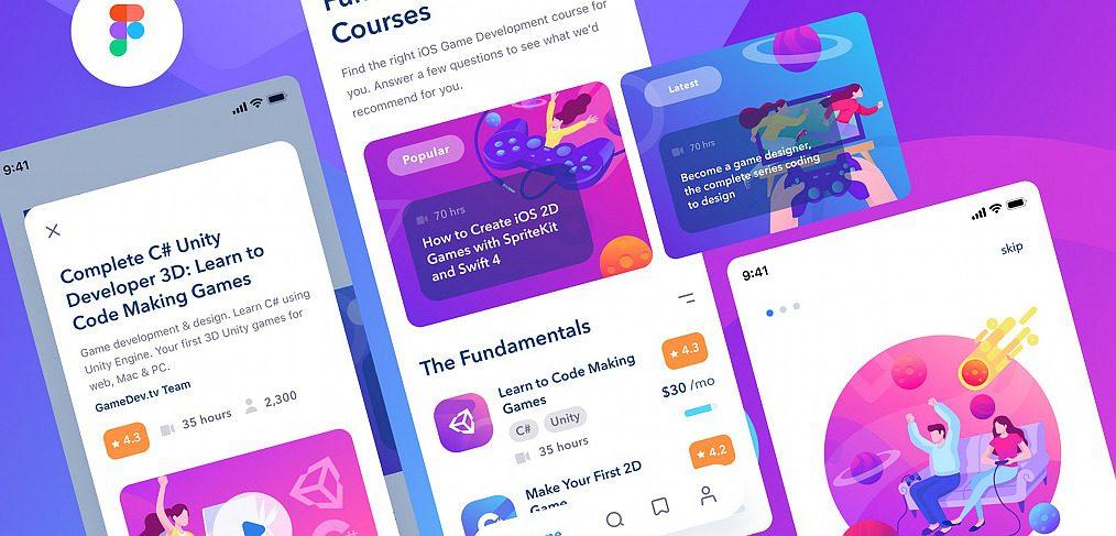E-learning mobile app Figma template