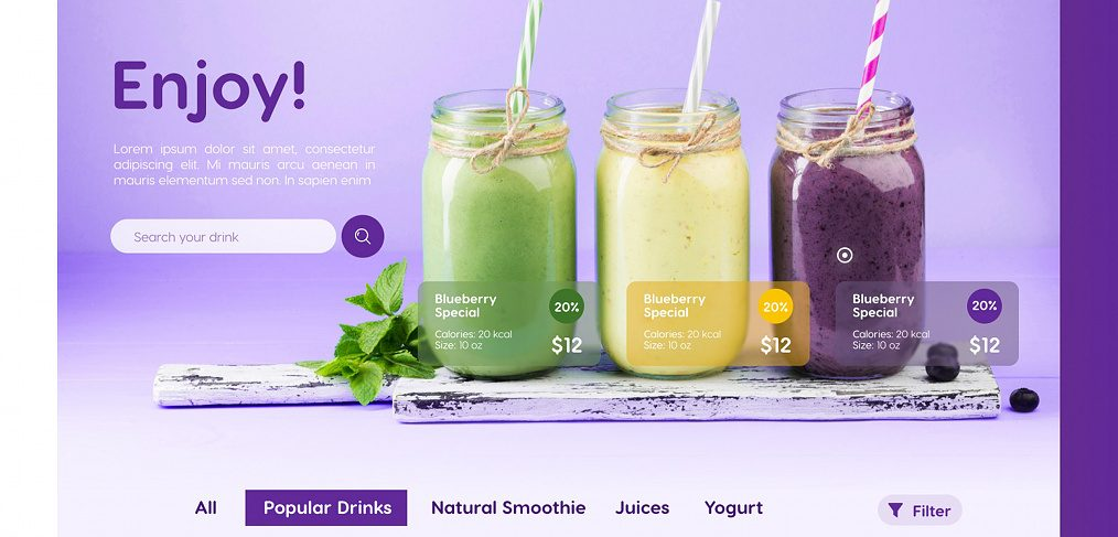 Smoothie concept page