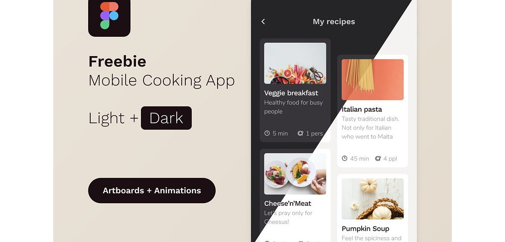 Figma cooking app template
