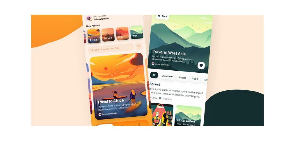 Figma travel journal app template