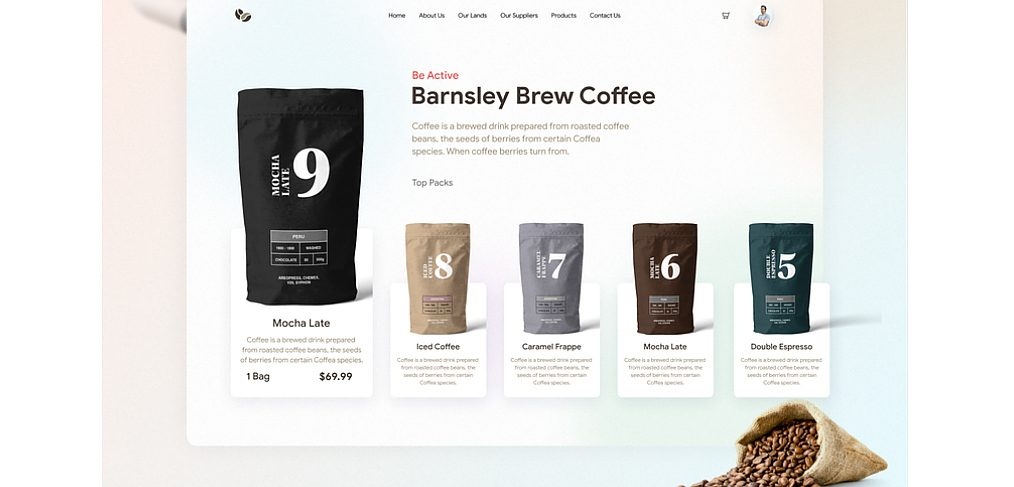 Free coffee lover landing page for Figma